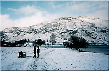 NY3916 : Snowy day near the pier at Glenridding by Sharon Leedell