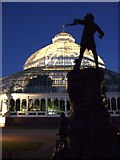 SJ3787 : Palm House and Peter Pan Statue at night. by Colin Pyle