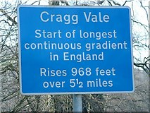 SE0125 : Sign for Cragg Vale gradient by Nigel Lloyd