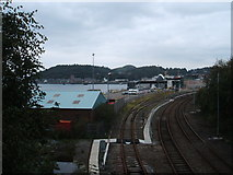 NM8529 : Railway lines at Oban Ferry Terminal by Peter Barr