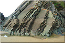 SM8422 : Near-vertical strata above Newgale beach by Andy F