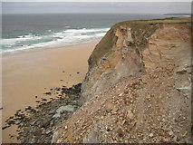 SW8364 : Unstable cliffs above Watergate Bay by Philip Halling