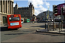 SJ3490 : Buses in a variety of liveries leaving Queens Square Bus Station by David Long
