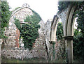 TF6626 : The ruined church of St Felix - blocked chancel arch by Evelyn Simak