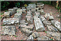 SO4108 : Store of stones awaiting restoration, Raglan Castle by Andy F
