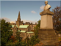 NS6065 : Glasgow: a gravestone and the cathedral by Chris Downer