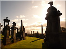 NS6065 : Glasgow: gravestones (and two towerblocks) by Chris Downer