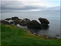 T3294 : Rocks off the coast at Wicklow by Eirian Evans