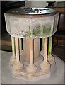 TG3928 : All Saints church - C13 Purbeck marble font by Evelyn Simak