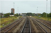SU1585 : The down line to Swindon Station by Steve Daniels