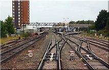 SU1585 : Points to Swindon Station by Steve Daniels