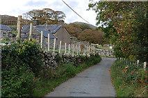 SH6129 : The Cwm Bychan road passing Crafnant farm by Nigel Brown
