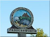 TR1939 : Paddlesworth village sign by Rose and Trev Clough