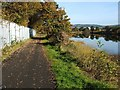 NS3975 : Cycle path, north of railway bridge by Lairich Rig
