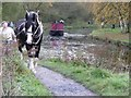 SK3155 : Horse-drawn canal boat approaching the swingbridge from the south. by Christine Johnstone