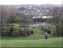 SP3365 : Willes Meadow reservoir and St Mary's allotments by Robin Stott