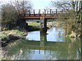 SP6849 : Rusty railway bridge near Towcester by Oliver Hunter