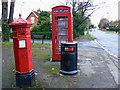 SO9523 : Penfold pillar box, K6 telephone box and a litter bin, Evesham Road, Cheltenham by Brian Robert Marshall