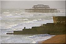TQ3103 : Groyne on Brighton Beach with West Pier by Christine Matthews