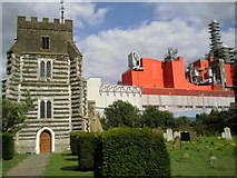 TQ5977 : St Clement's Church, West Thurrock and Procter & Gamble by Kenneth Yarham