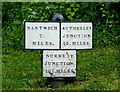 SJ6542 : Canal milepost near Audlem, Cheshire by Roger  Kidd
