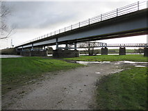 SK8174 : Toll bridge and pipe bridge over the River Trent by Alan Heardman