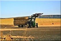 NZ5906 : Bringing in the Bales, Bank Foot Farm by Paul Buckingham