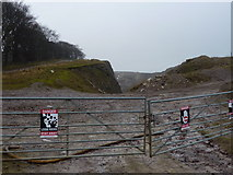 SK2173 : Warning notices at eastern end of High Rake by Peter Barr