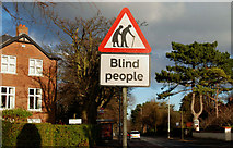 "J3773 : ""Blind people"" sign, Belfast by Albert Bridge"