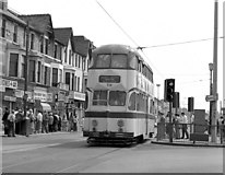 SD3035 : Tram at Manchester Square, Blackpool by Dr Neil Clifton