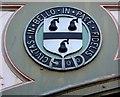 SO8455 : Black Pear shield on Foregate railway bridge by Bob Embleton