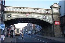 SO8455 : Foregate street railway bridge by Bob Embleton