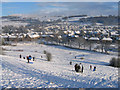 SD5292 : Sledging on Castle Hill by Ian Taylor