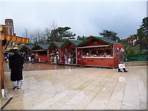 SZ0891 : Bournemouth: the Christmas market on a wet lunchtime by Chris Downer