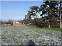SU9948 : Looking towards the sports pavilion within the recreation ground in Shalford Road by Basher Eyre