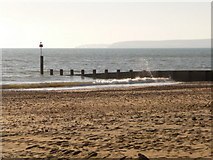 SZ1090 : Bournemouth: groyne 16 and Purbeck view by Chris Downer