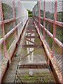 SM9304 : On the Pembrokeshire Coastal Path - Wire mesh footbridge over oil refinery road by Colin Park