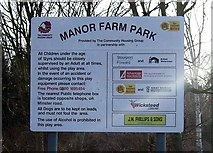 SO8171 : Manor Farm Park sign by P L Chadwick