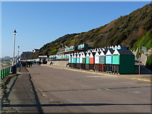 SZ1191 : Boscombe: lots of beach huts and Manor Zig-Zag by Chris Downer