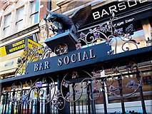 TQ2775 : Sign for Bar Social on Wandsworth Road, Lavender Hill, Battersea by tristan forward