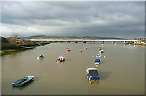 TQ2105 : River Adur and railway bridge, near Shoreham, West Sussex by Roger  Kidd