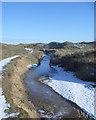 SS8676 : Frozen stream at Merthyr Mawr Warren by eswales