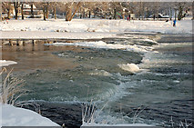 NT2440 : Water and ice at the weir, Peebles by Jim Barton