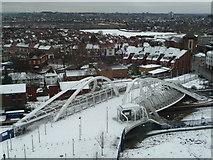 TQ1885 : Wembley: Wembley Stadium Station footbridge in snow by Chris Downer
