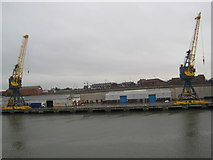 NZ4057 : Cranes on Corporation Quay, River Wear by Les Hull
