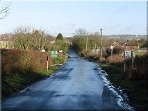 TR1236 : View along the Stone Street near Folkestone racecourse by Nick Smith