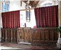 TL7698 : All Saints church - C15 rood screen dado by Evelyn Simak