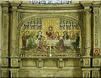 TQ2882 : Holy Trinity, Great Portland Street, London W1 - Reredos by John Salmon
