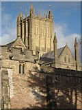 ST5545 : Wells Cathedral tower by Philip Halling