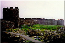 SC2484 : Peel - Footpath around the exterior of the castle by Joseph Mischyshyn